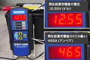 A 再生前満充電後の電圧(12.55V) とCCA 値(465A)