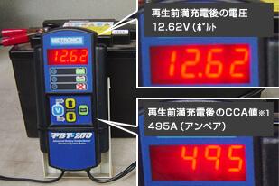 B 再生前満充電後の電圧(12.62V) とCCA 値(495A)