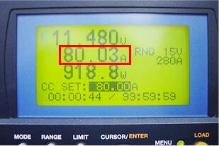 放電試験状況(放電電流値80A 表示)