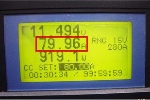 再生後の放電試験状況(放電電流80A 表示)